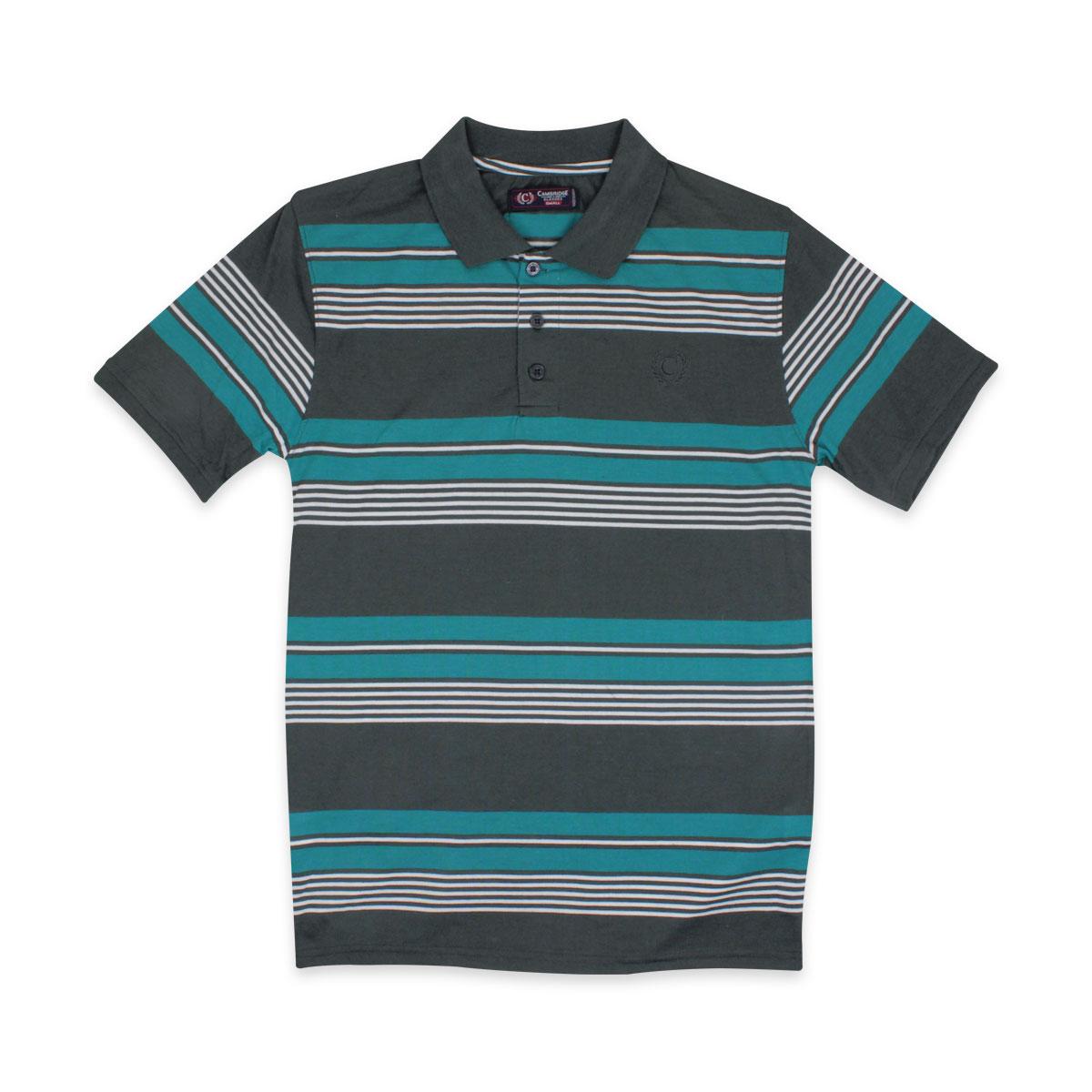 Mens Striped Polo Shirts Pique Collared T Shirt Summer Tee Short Sleeve S M L XL