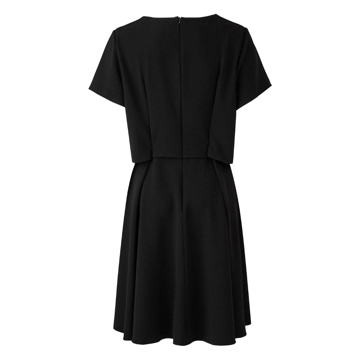 Simplybe Femme Noir Longueur Genou Soirée Robe Décontractée Couches Dentelle Taille 16-26