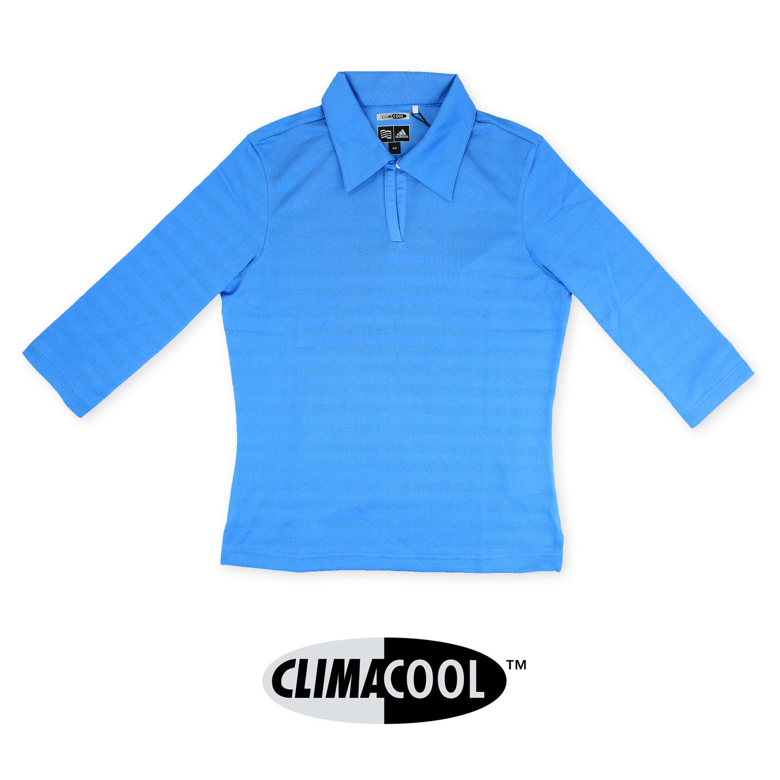 e1fd56df ADIDAS Ladies Womens Blue Golf Polo Shirt Top Climacool Coolmax Size ...