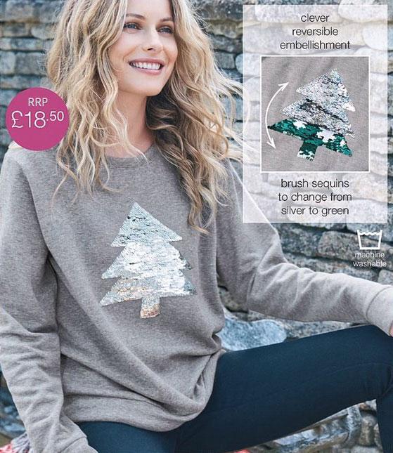 Avon-Donna-Reversibile-Grigio-Con-Lustrini-per-albero-di-Natale-Maglione-Taglia-18-20-22-24 miniatura 4