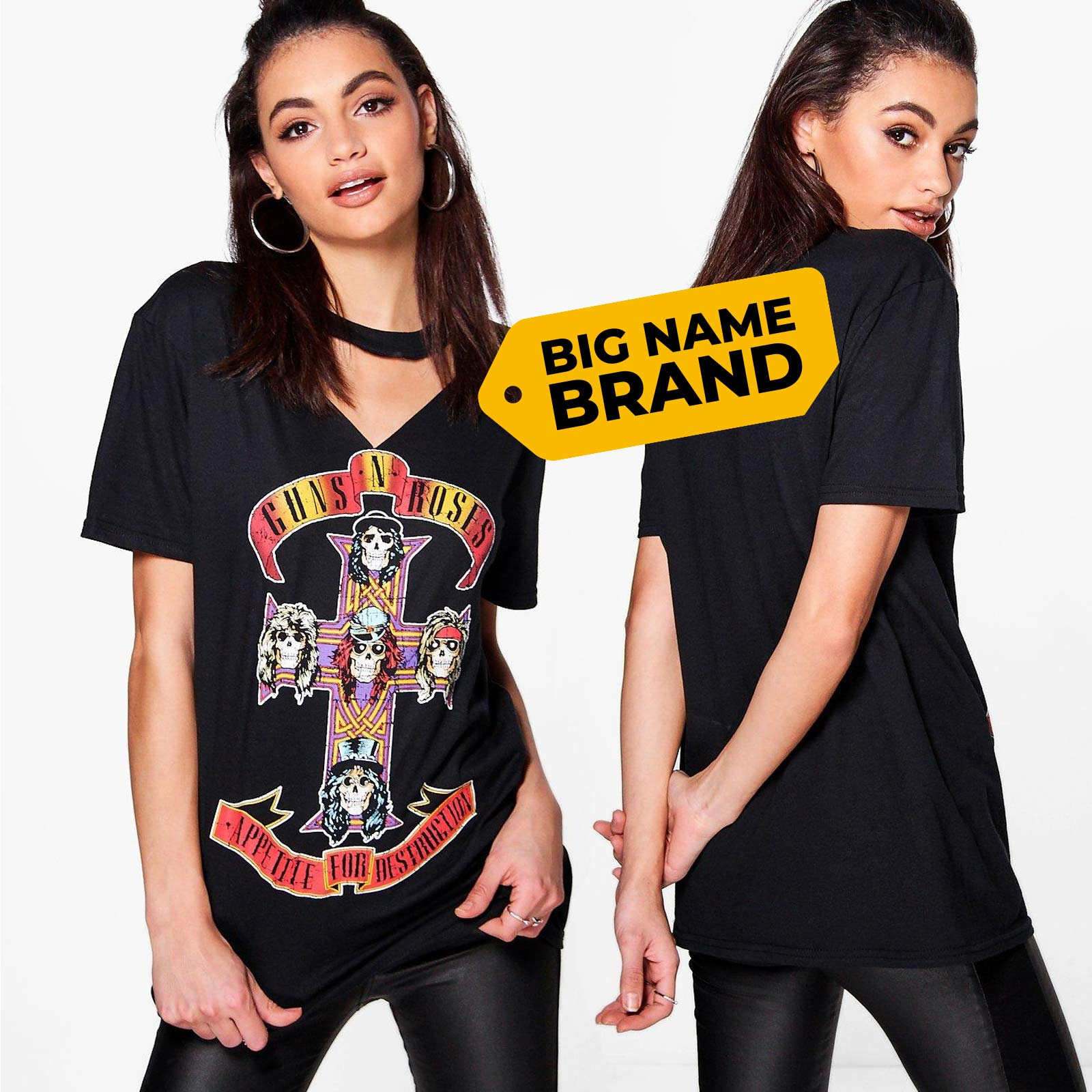 46e8c198c7e9 Official Womens Guns n Roses T Shirt Tee Cut Out Neck Appetite for ...