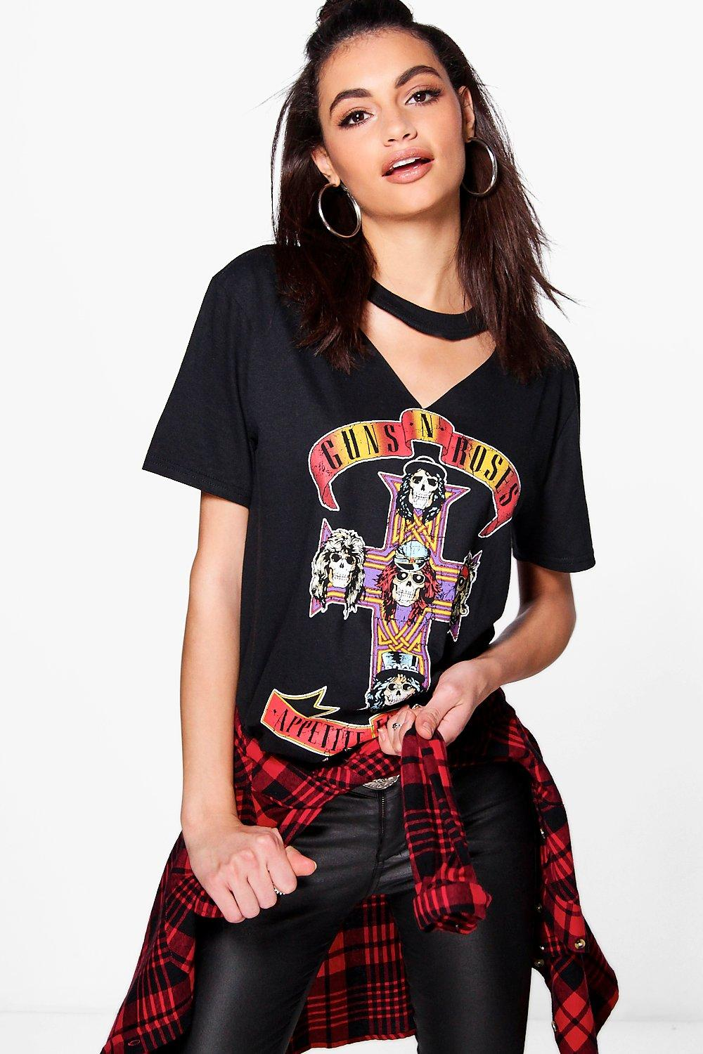 Official-Womens-Guns-n-Roses-T-Shirt-Tee-Cut-Out-Neck-Appetite-for-Destruction thumbnail 7