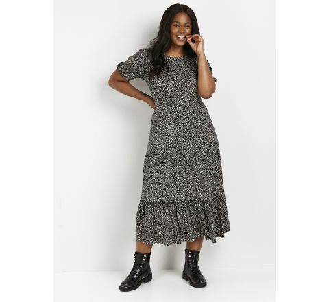 Ex Evans Black Monochrome Midi Jersey Dress