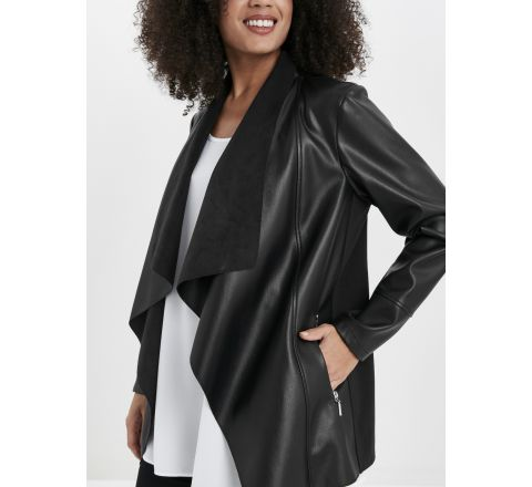 Ex Evans Faux Leather Waterfall Jacket - Black