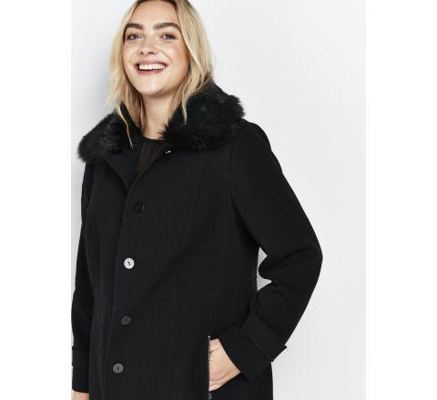 Ex Evans Black Faux Fur Collar Coat - Size 16