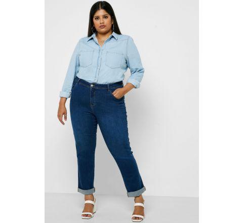 EX EVANS Mid Wash Straight Jeans