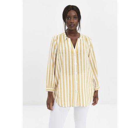 Ex Evans Yellow Stripe Print Button Shirt
