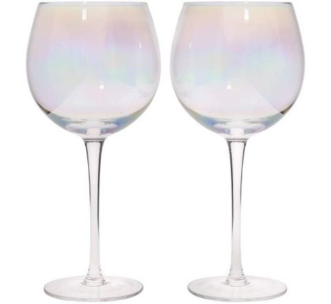 BarCraft Set of Two Iridescent Gin Glasses - 500ml