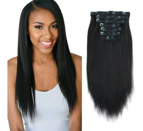Lovrio Real Remy Thick Double Weft Clip in Human Extensions - Yaki Straight