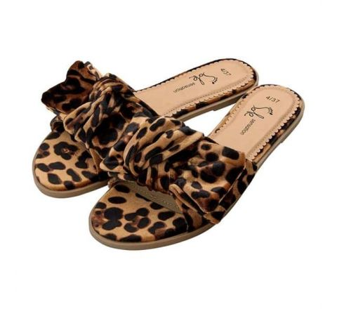 Avon Karly Leopard Print Bow Slider