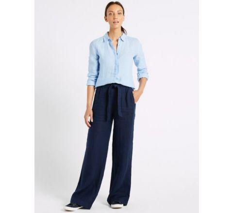 Ex M&S Pure Linen Wide Leg Trousers - Navy