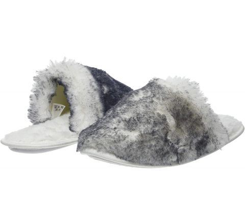 Ex Store Luxe Tipped Fur Mule Open Back Slippers - Size 5/6
