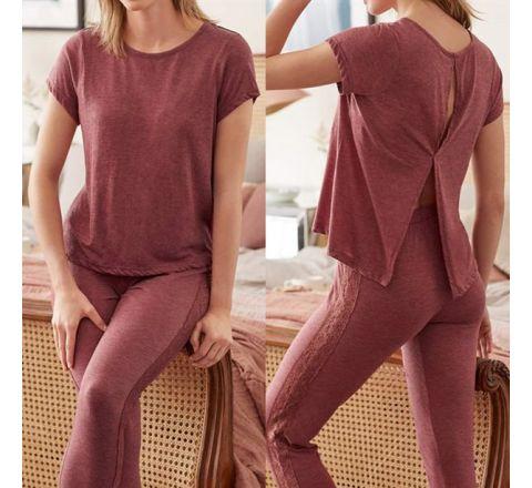 Avon Lace Red Marl Pyjama Set