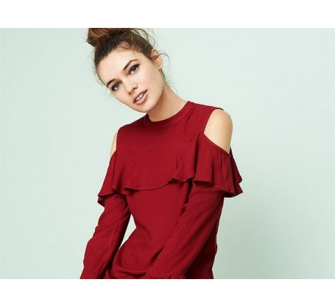 Avon Cold Shoulder Ruffle Top