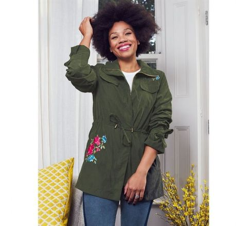 Avon Coveted Embroidered Khaki Green Utility Jacket