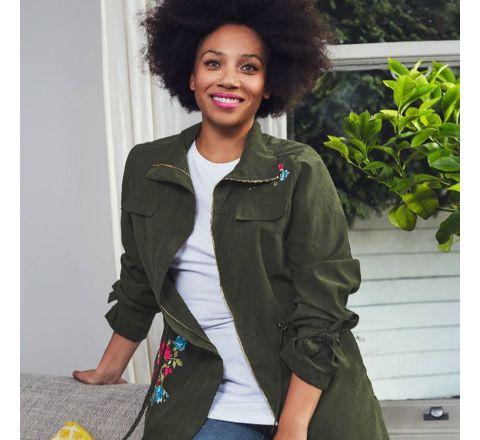 Avon Coveted Embroidered Khaki Green Utility Jacket