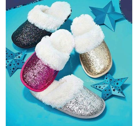 Avon Midnight Luxe Glitter Mule Slippers