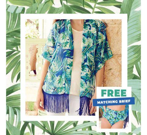 Avon Club Caliente Palm Print Kimono with Matching Brief