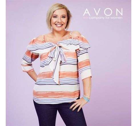 Avon Printed Bardot Bow Top