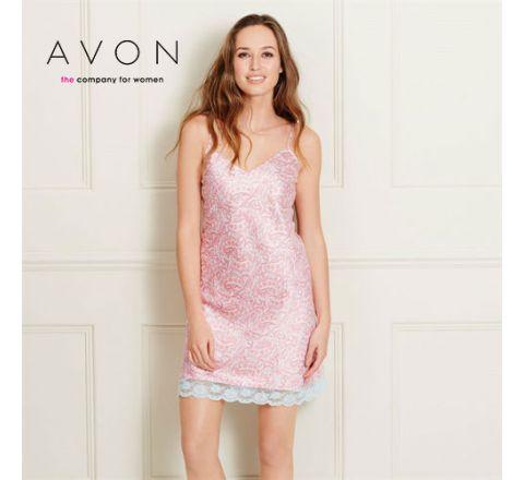 Avon Oriental Print Satin Night Dress