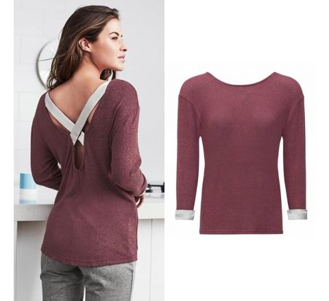 Avon Zaria Burgundy Thin Knit Cross Over Top