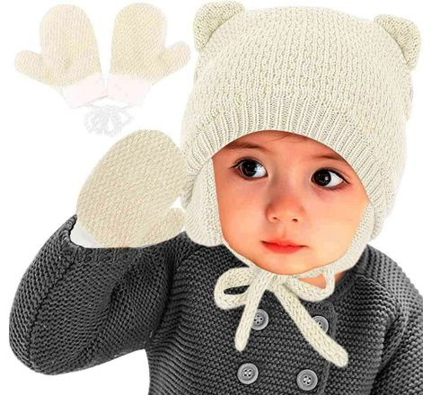 Baby Knitted Beanie and Gloves Set