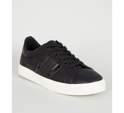 Black Faux Croc Stripe Lace Up Trainers