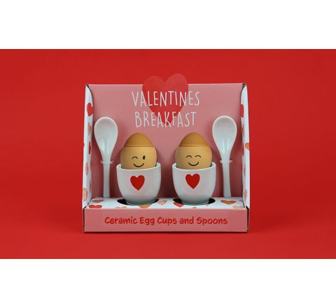 Valentines Breakfast Ceramic Egg Cups and Spoons