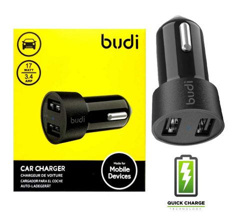 2 x Budi Car Charger with 2 USB Ports