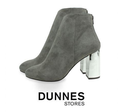 Dunnes Grey Suedette Metal Block Heel Boots