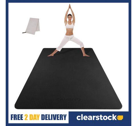 Extra Large Yoga Mat - Black, 6 x 4 ft (183x122x0.6cm)