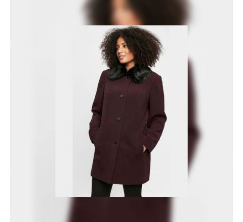 Ex Evans Deep Purple Faux Fur Collar Coat - Size 14