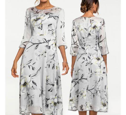 Floral Summer 3/4 Sleeve A-Line Dress