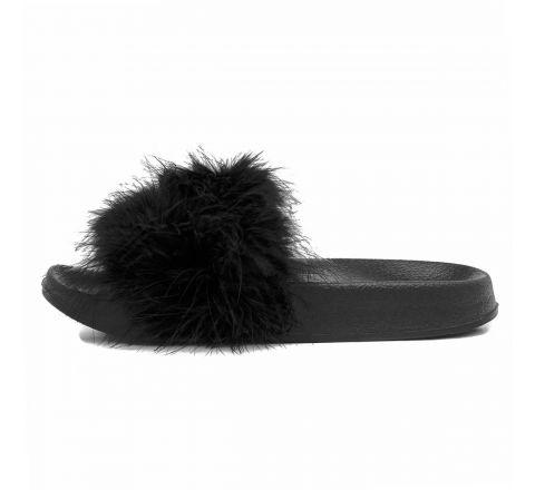 Women's Black Feather Slip On Slider