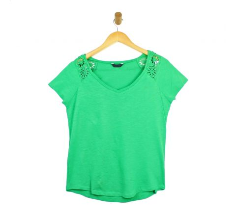 Womens Green Summer V Neck Top
