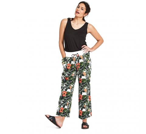 JD Williams Floral Print Slouch Linen Rich Trousers