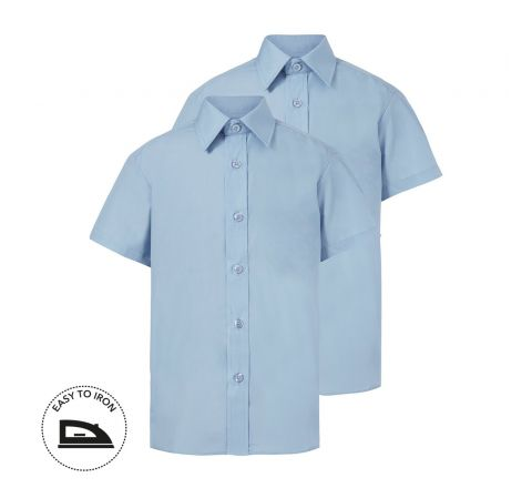 Girls Light Blue Short Sleeve School Shirt 2 Pack