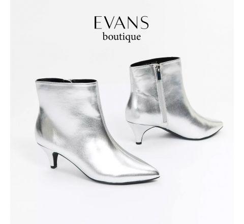 Silver Metallic Kitten Heel Wide Fit Ankle Boots