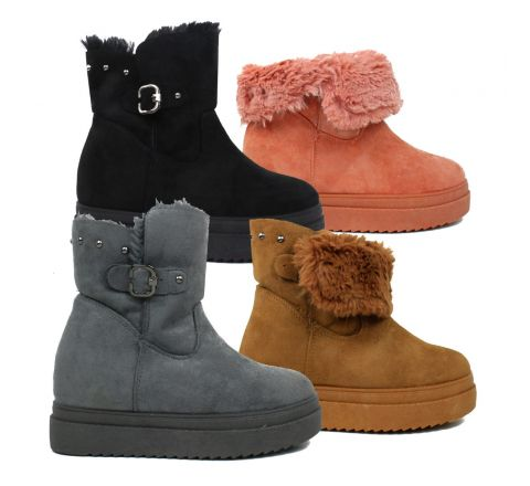 Faux Fur Lined Fold Over Platform Winter Boots