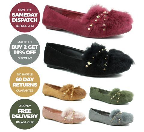 Faux Fur Dolly Shoes