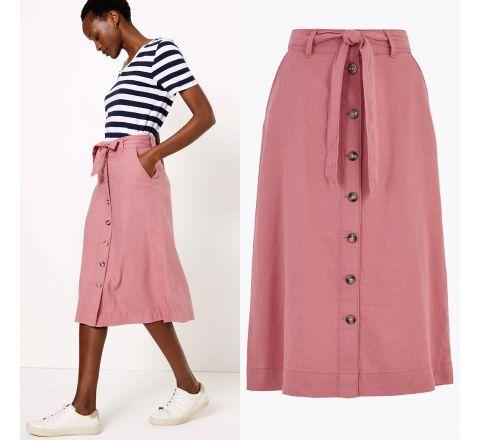 EX M&S Linen Button Front Midi A-Line Skirt