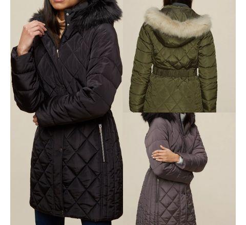 Ex Store Black Long Fur Neck Jacket
