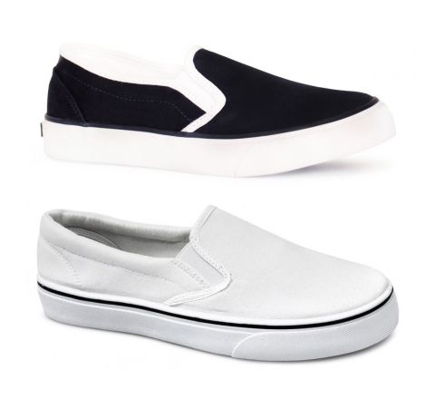 Lands End Canvas Rubber Sole Slip On Deck Pump Plimsolls