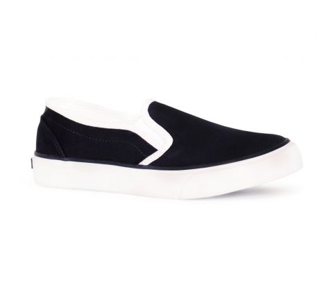 Lands End Canvas Rubber Sole Slip On Deck Pump Plimsolls-Navy-UK 10 Infant