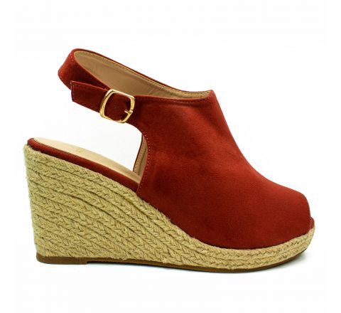 Ex Peacocks Teracotta Wide Fit Wedge Sandals