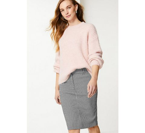 M&S Jersey Dogtooth Knee Length Pencil Skirt