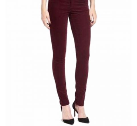 Ladies Mid Rise Fine Corduroy Cotton Rich Jean Trousers OxBlood Red Skinny Leg