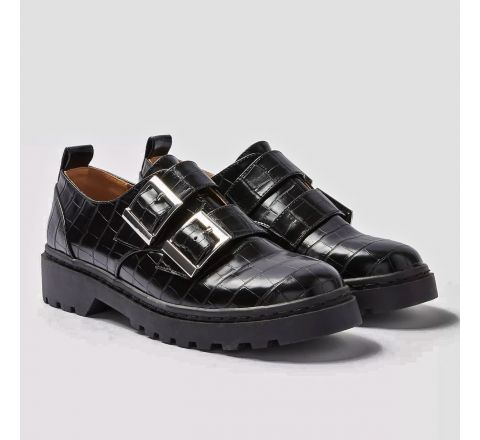 Black Snake Double Buckle Brogues Shoes