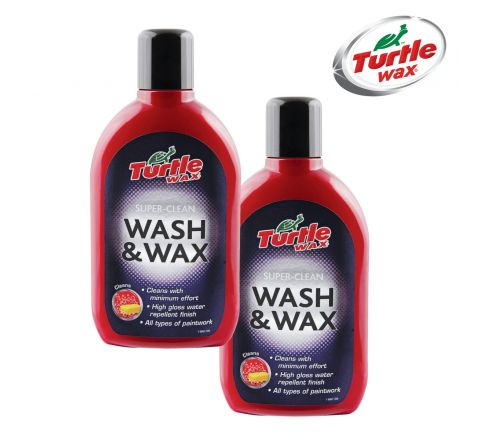 2x Turtle Wax Car Shampoo Wash & Wax 500ml - 100% Extra Free