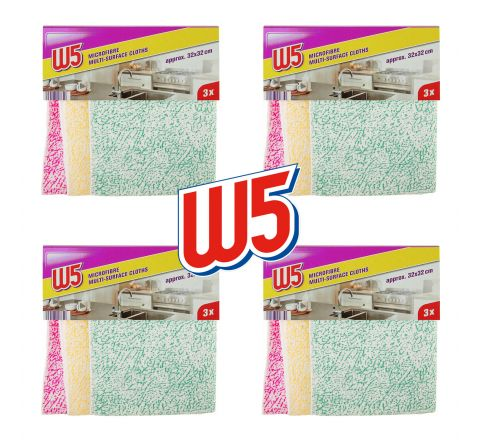 W5 15 x Microfibre Cloths for Cleaning All Surfaces